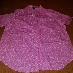 18W Pink/Blue and White Printed Button Up Blouse